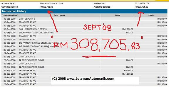 rahsia buat duit internet penyata bank sept 2008